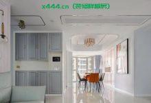 126平轻奢三居室装修效果图,客厅背景墙、吊顶,用金属线条勾勒-三思生活网