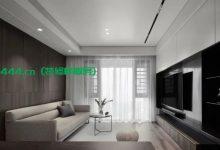 89平现代简约三室装修效果图,入户花园洗衣房,客厅超长储物柜-三思生活网
