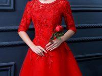 新娘晚礼服穿什么颜色的 蕾丝旗袍一字肩-三思生活网