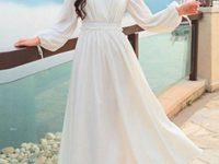白色连衣裙款式图片 系带束腰露肩背心裙-三思生活网